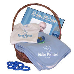 New Baby Boy Pacifier Blue Personalized Economy Gift Basket