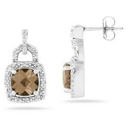 Cushion Cut Smokey Quartz and Diamond Earrings in 10K White Gold