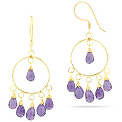 Amethyst Dangle Earrings in 18K Yellow Gold