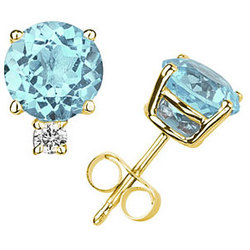 Round Aquamarine and Diamond Stud Earrings in 14K Yellow Gold