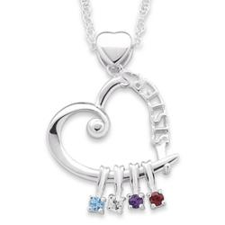 Sterling Silver Sisters Birthstone Charm Pendant Necklace
