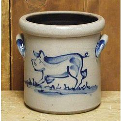 Pig Pattern Salt Glazed Crock