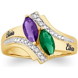 Couples Marquise Birthstone and Diamond Name Ring