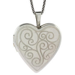 Vintage Scroll Design Sterling Silver Heart Locket