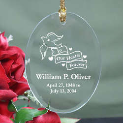 Engraved in our Hearts Forever Glass Ornament