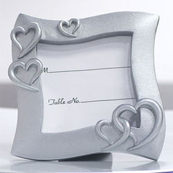 Silver Heart Wedding Place Card Frame