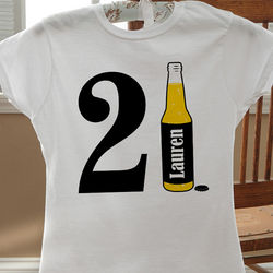 Personalized 21st Birthday Beer White T-Shirt