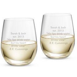 Riedel O Stemless Viognier Chardonnay Glasses