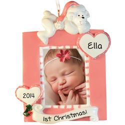Baby Girl's First Christmas Pink Photo Frame Ornament