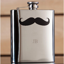 Mustache Engraved Flask