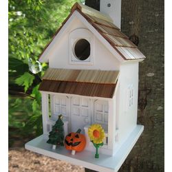 Season's Tweetings Birdhouse with Seasonal Decorations