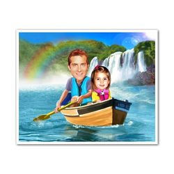 Canoe with Dad Custom Caricature Art Print