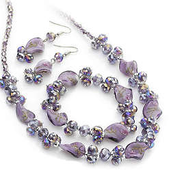 Purple Crystal Earrings, Necklace and Bracelet Set