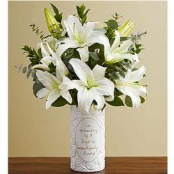 Beautiful Memories with All White Lily Bouquet