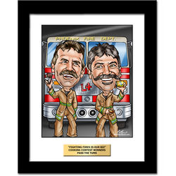 Firefighter's Custom Caricature Art Print