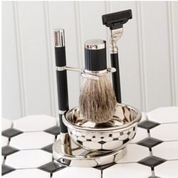 Silver Plated Matte Black Shaving Set with Mach3 Razor