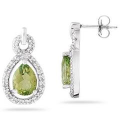 Pear Shaped Peridot and Diamond Earrings in White Gold