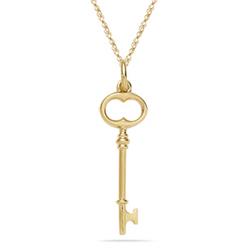 Nouveau Key Pendant in 14K Yellow Gold