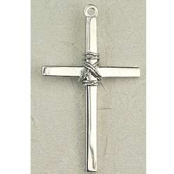 Sterling Silver Cross Bound with Wire Rope Necklace