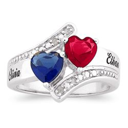 Sterling Silver Couple's Birthstone Hearts Diamond Name Ring