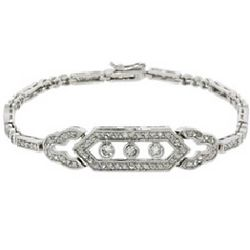 Gatsby Deco Vintage Style CZ Tennis Bracelet