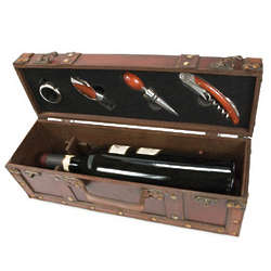 Treasure Chest Wine Box with 4 Piece Wine Set