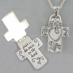 Antique Silvertone Oasis Message Cross Necklace