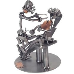 Dentist with Patient Metal Sculpture