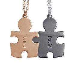 Personalized Two Tone Puzzle Piece Necklaces