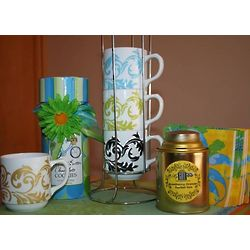 Stacking Mugs and Tea Gift Set