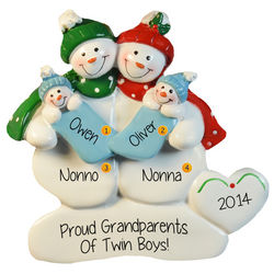 Grandparents Holding Twin Boys Personalized Ornament