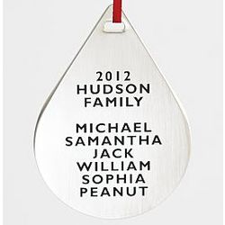 Personalized Metal Ornament Teardrop Family Names
