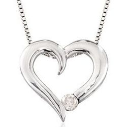 Silver Swirling Diamond Accennt Heart Pendant Necklace