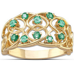 18K Gold Plated Celtic Lace Emerald Ring