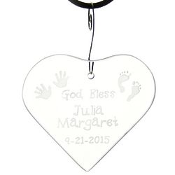 Personalized God Bless Baby Glass Ornament