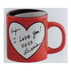 Love Note Personal Message Heart Mug