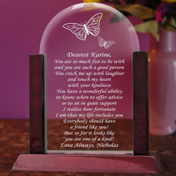 Personalized Butterfly Glass Arch Plaque with Wooden Base