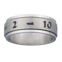 Mens Stainless Steel Engraved Lucky Number Spinner Band
