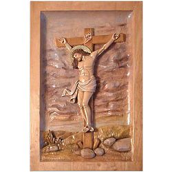 Christ Crucified Cedar Relief Panel