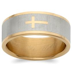 Men's Stainless Steel Two-Tone Cross Engraved Message Ring