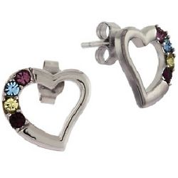 4 Stone Sterling Silver Crystal Birthstone Heart Stud Earrings