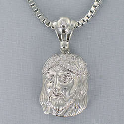Silvertone Cubic Zirconia Christ Pendant