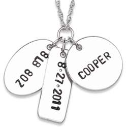 Sterling Silver Hand Stamped Baby's Name and Date Necklace