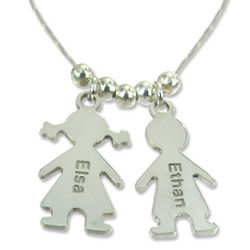Sterling Silver Mother's Necklace with Children Charms