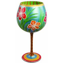 Happily Retired Hand Painted Tropical Wine Glass