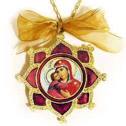Madonna and Child Faberge Style Icon Ornament with Chain and Bow