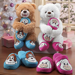 Kid's Animal Slippers and Teddy Bear Pal