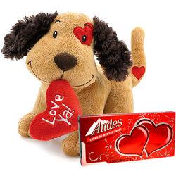 Love Ya Puppy Dog Plush Stuffed Animal with Andes Thin Mints