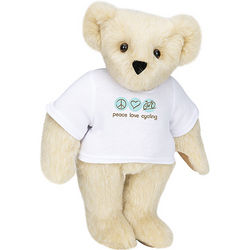 "Peace, Love, Cycling 15"" T-Shirt Teddy Bear"