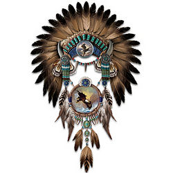 Ted Blaylock Eagle Art Headdress and Dreamcatcher Wall Decor